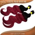 grade 6A ombre color 1b#-burgundy body