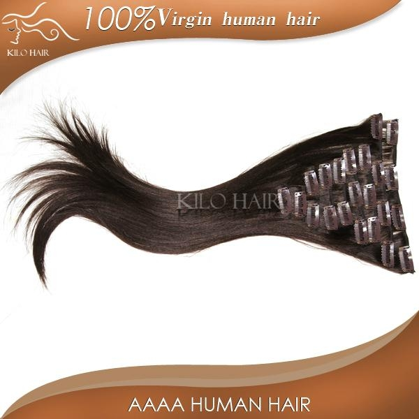 chinese sites virgin unprocessed brazilian clip in human hair extensions  5