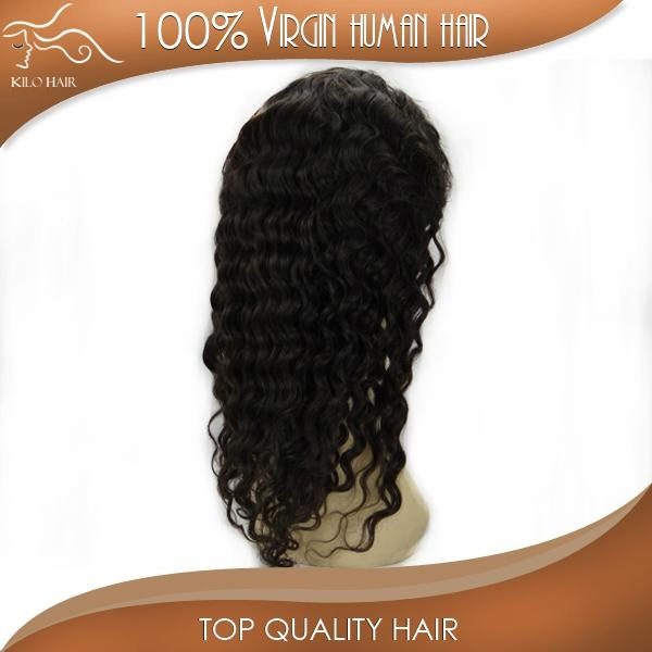 grade AAAAA deep wave full lace wig unprocessed brazilian hair  4