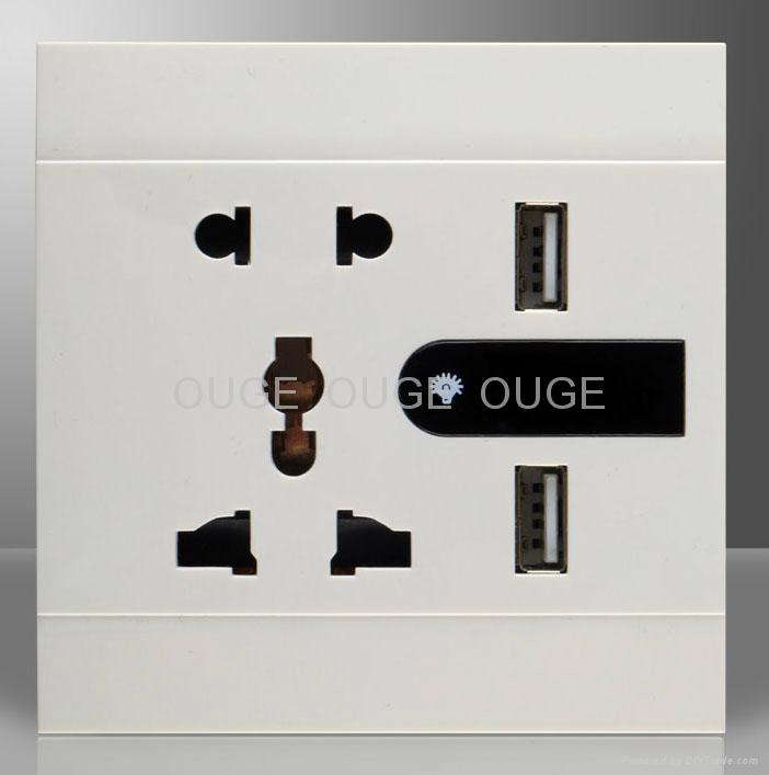 USB Wall Socket with LED light  2