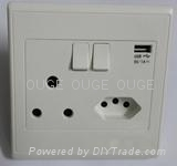 South Africa Style Wall Socket with Switches & USB port