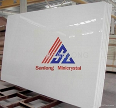 Pure White Artificial Crystallized Glass Stone Slabs