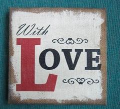 Antique handmade burlap plaque for home decor