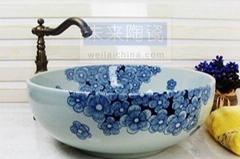 手繪景德鎮青花瓷洗手池