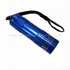 mini pocket handheld led torch 9 led promotional flashlight