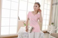 2014新款韩版花瓣领V领修身显瘦纯色短袖T恤