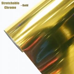 1.52*20m Stretch Chrome Car Sticker Adhesive Cars/Stretchable Chrome Wrap Vinyl