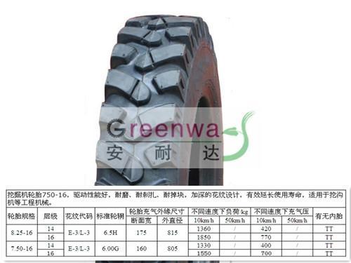 小挖机轮胎750-16 1
