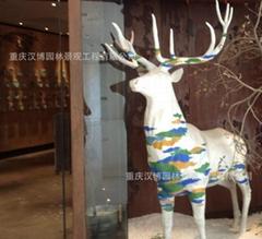 梅花鹿動物玻璃鋼雕塑像