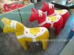 達樂木馬雕塑樹脂擺件