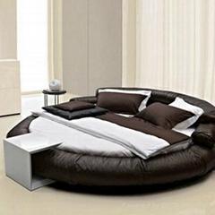 Bisini Modern Genuine Leather Round Bed