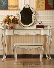 New Classical Dresser with Mirror, Stool, Bedroom Furniture