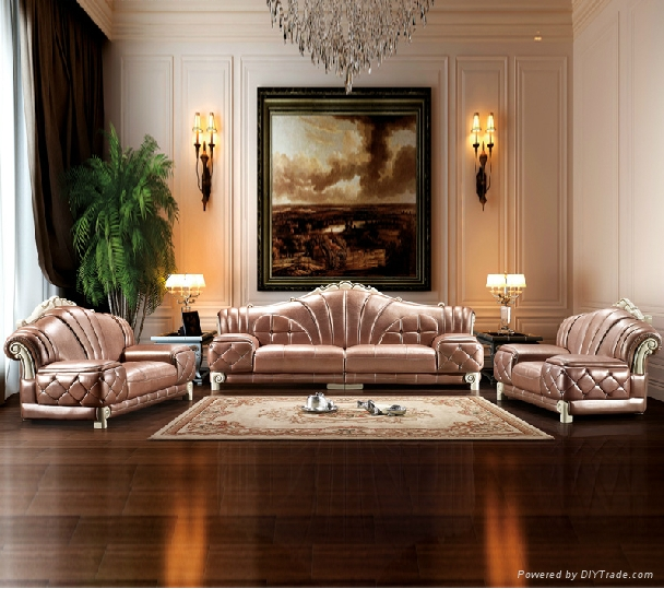 High End Decorative Living Room European Style Luxury: High End Luxury Noble Genuine Leather Wooden Sofa Design