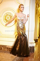 2014 forever unique dress ombre gold sequin fish tail/mermaid prom