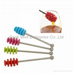 silicone honey dipper with stainless steel handle