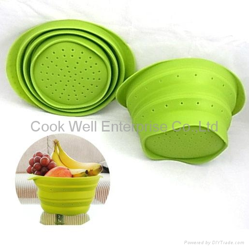 Kitchen tools Silicone vergatable colander silicone collapsible strainer  1