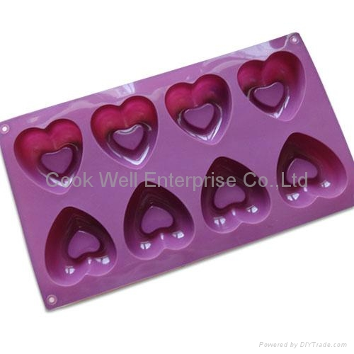 food grade heart shape silicone muffin tray pudding tray 2