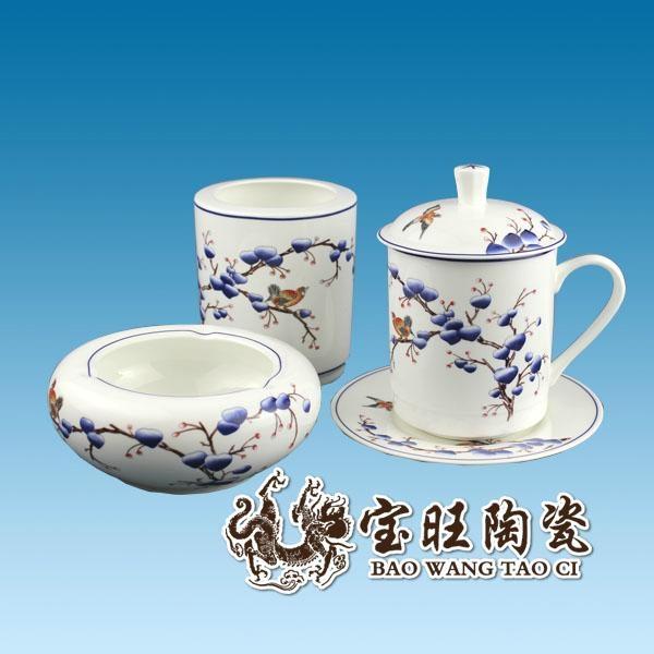 陶瓷茶杯笔筒烟灰缸三件套 4