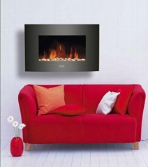 "35""Black Curved Tempered Glass Wall Mounted Electric Fireplace Heater(Pebbles Fu"
