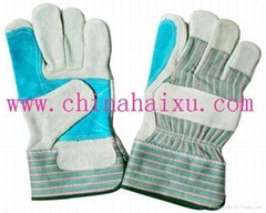 cow split working leather gloves