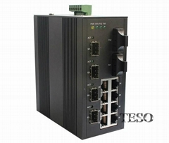DIN Rail Industrial Fiber Ethernet Switch 10 / 100 / 1000M With Dual Power