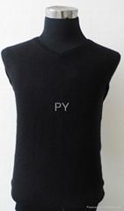 2014 new style V neck black 12 needle man's cashmere sweater 022