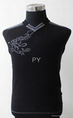 羊絨衫V領黑色12針男裝2014新款012