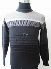 grey stripe 12 needle man's cashmere sweater