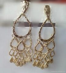 时尚饰品欧美范心形水滴多层流苏耳环