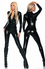 Black Punk Zipper Front Gothic Overall Catsuit
