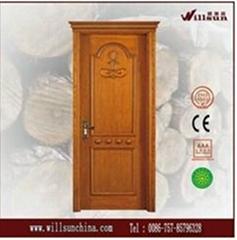 simple wood carving design wood door for villa bedroom