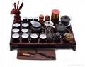 Yixing Red teapot kung fu sets with solid wood tea tray 1