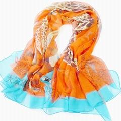 雪紡圍巾數碼印花