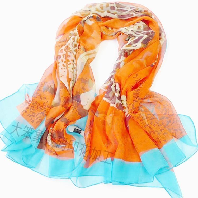 雪纺围巾数码印花 1