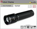 Waterproof flashlight with rotary zoom