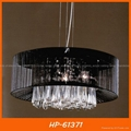 Black fabric shade crystal pendant lamp