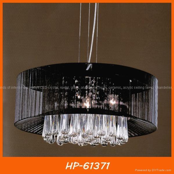 Black fabric shade crystal pendant lamp 1