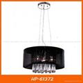 Black fabric shade crystal pendant lamp 2