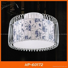 Modern fabric ceiling lamp two- tier
