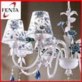 Beautiful fabric chandelier with ceramic rose  2