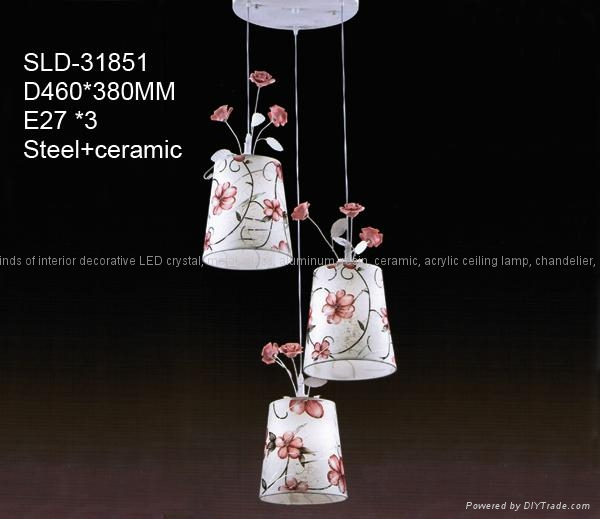 Beautiful fabric chandelier with ceramic rose  4