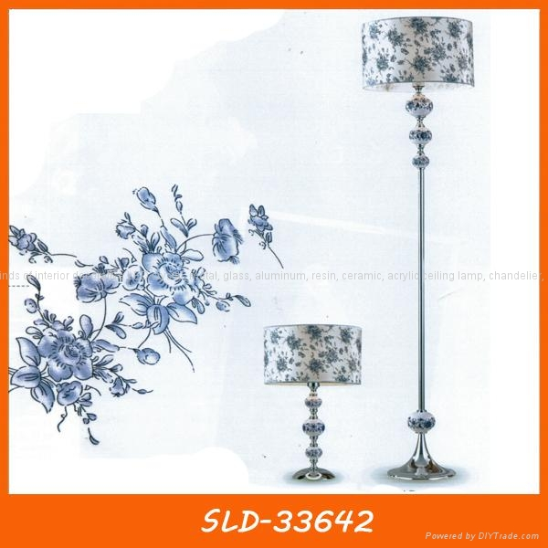 Beautiful fabric chandelier with ceramic rose  5
