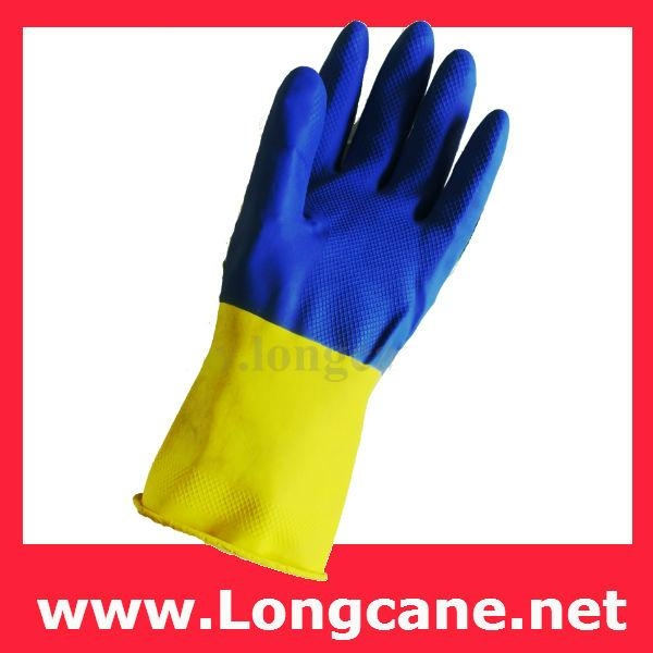 Bi-Colour Rubber Hand Gloves / Rubber Work Gloves Malaysia 2