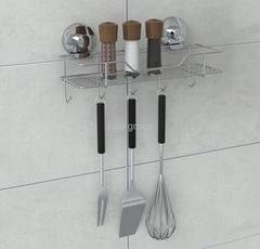 Suction storage rack with 5 hooks