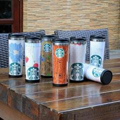 星巴克外塑内钢双层咖啡杯DLY定制随手杯