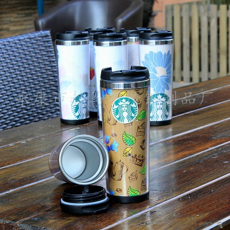 星巴克外塑内钢双层咖啡杯DLY定制随手杯 2