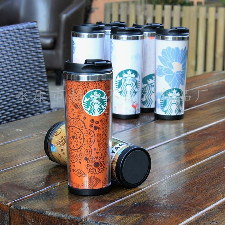 星巴克外塑内钢双层咖啡杯DLY定制随手杯 3