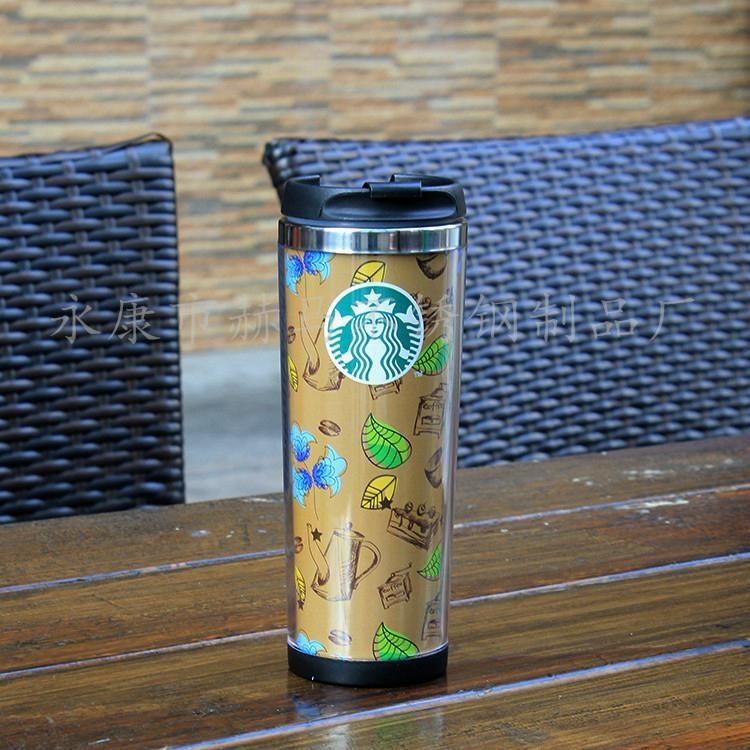 星巴克外塑内钢双层咖啡杯DLY定制随手杯 4