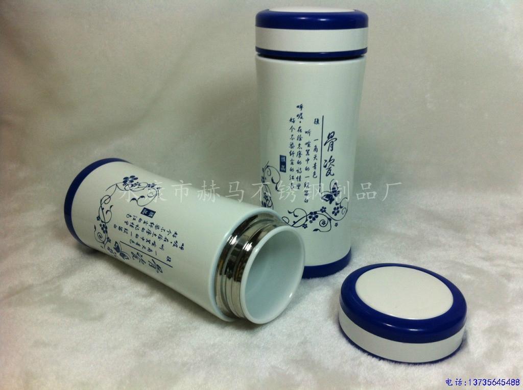 新款青花双层陶瓷保温杯 4