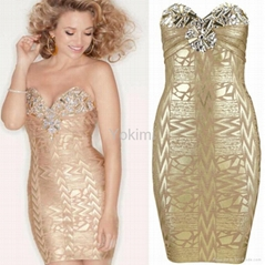 Crystal Embellished Gold Printed Bandage Dress